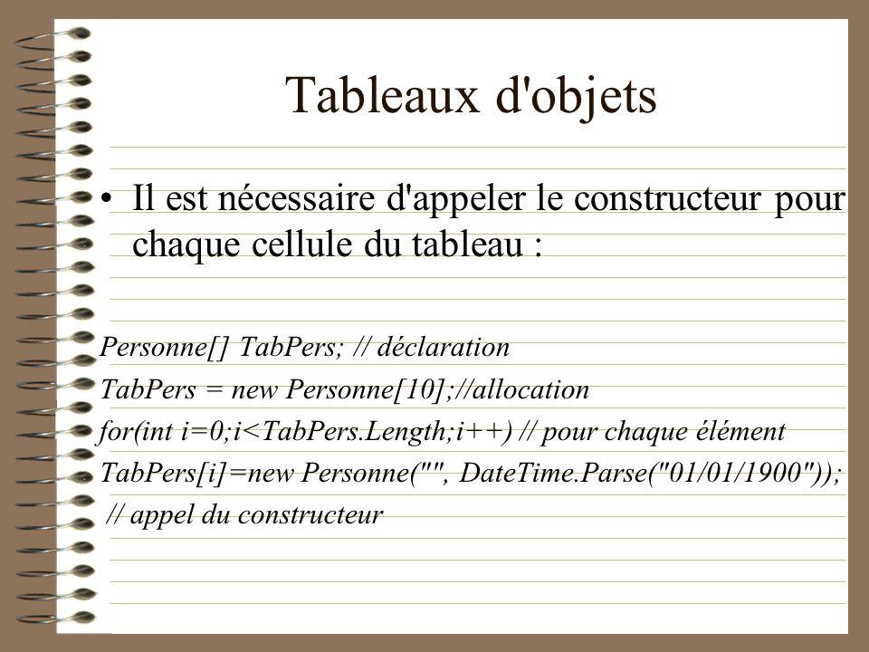 Tableaux d objets Il est nécessaire d appeler le constructeur pour chaque cellule du tableau : Personne[] TabPers; // déclaration.